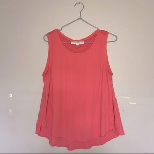 Ann Taylor LOFT Peach/Coral Double Lined Scoop Neck Tank Top Size Small